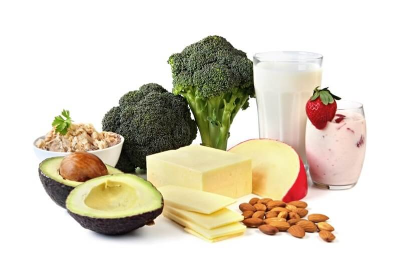 A selection of whole food calcium sources