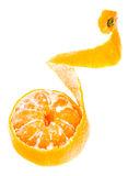 Partially peeled tangerine orange