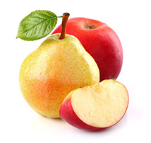 A red apple and fresh pear