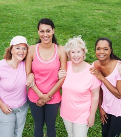 Women of various ages raising awareness of breast cancer